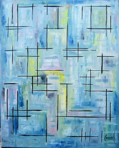 abstract  NO WAY OUT art modern 16x20 canvas BIG painting NEW signed by Crowell