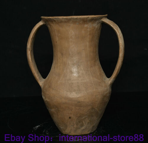"""8"""" Rare Old China Neolithic Qijia Culture Pottery Palace 2 Ear Tank Bottle KK"""