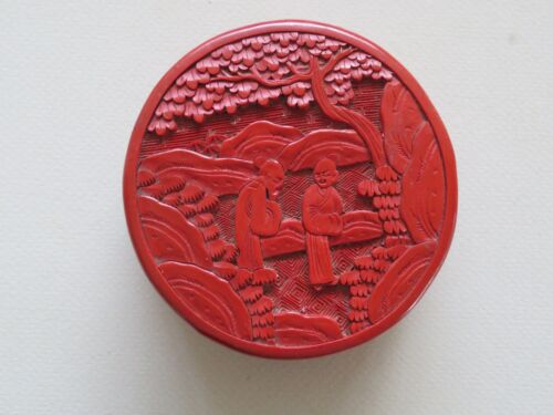 ANTIQUE CHINESE CARVED RED CINNABAR ROUND BOX WITH FIGURES ---------- NO RESERVE