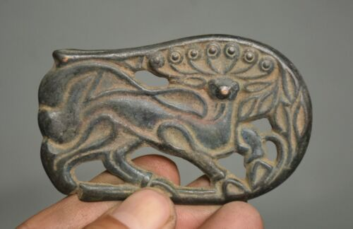 8CM Ancient Chinese Bronze Dynasty Palace Peacock Hollow Out Amulet Pendant
