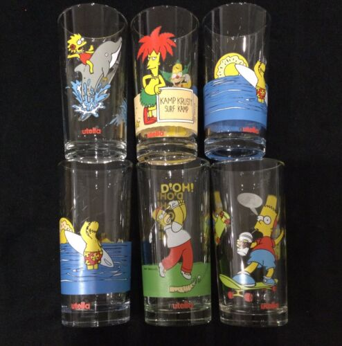 VINTAGE SIMPSONS NUTELLA GLASSES - SIX IN TOTAL - FROM 1998