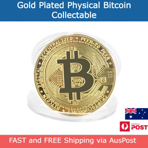 Physical Bitcoin - Collectable Gold Plated Crypto Coin in Plastic Case AUS Stock