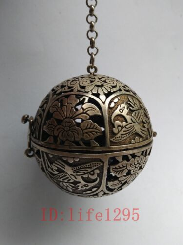 Collected China Tibet Old Silver Hand-made Flowers Birds Incense Sachet Pendant