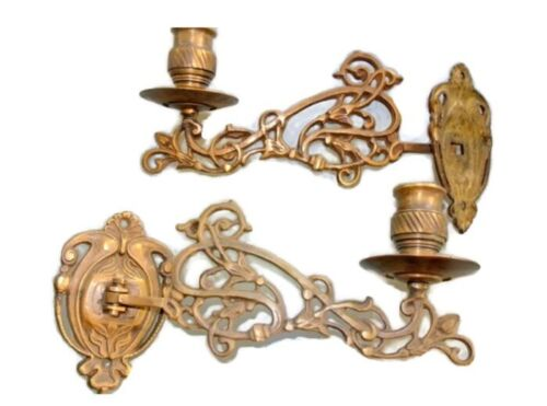 """2 PIANO SCONCE solid heavy brass 8 """" rotate candle holder aged heavy brass"""