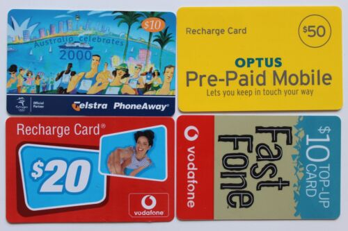 Phonecards - a used collection of 4 from Vodafone, Optus, and Telstra.