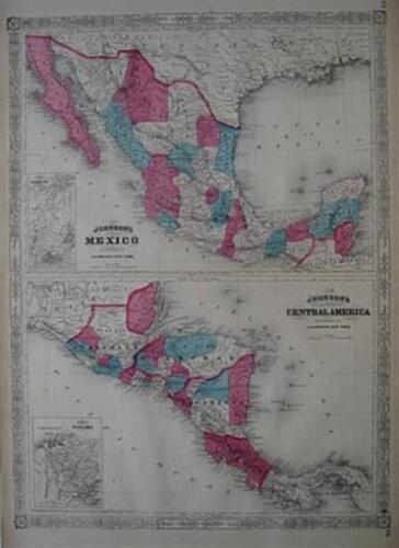 2 Original 1867 Johnson Maps MEXICO + CENTRAL AMERICA