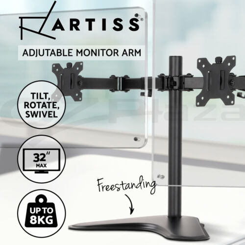 Artiss Dual Monitor Arm Stand HD LED TV Mount Holder 2 Arm Display Freestanding