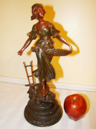 Spelter Metal Figural Statue of Girl with Basket