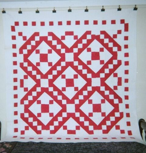 "Red & White JACOB'S LADDER Quilt: 76"" x 76"", c. 1900, Pennsylvania, Cottons."
