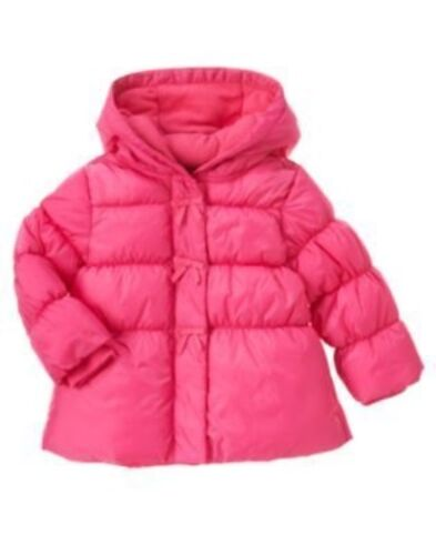 GYMBOREE CHEERY ALL THE WAY PINK BOW PUFFER HOODED JACKET 6 12 24 2T 3 4T 5T NWT