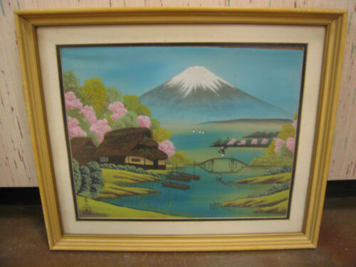 Vtg Semi Antique Mid Century Signed Japanese Transfer Painting on Fabric / Silk