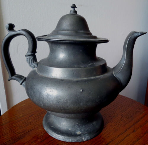 J DANFORTH AMERICAN PEWTER TEA POT c 1825