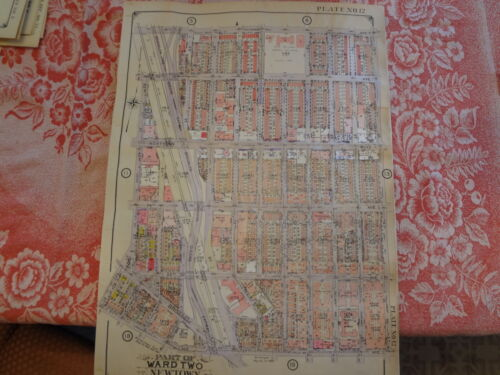 Rare Queens NY 20 X 27 Jackson Heights Linen Backed Atlas Map LIRR Plate-12