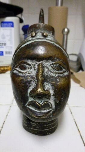 MID CENTURY BEAUTIFULLY CAST AFRICAN BENIN BRONZE HEAD OF A WOMAN