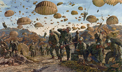 """""""Let Valor Not Fail"""" James Dietz Print - Paratroopers and Rangers in Korea"""