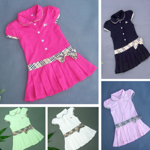 New Baby Toddler Girls Polo Short Sleeves Dresses Size 0,1,2,3,4,5,6,7,8,9 years
