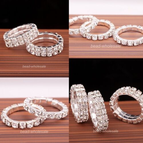Fashion 1 Row/2 Rows Jewelry Silver Plated Crystal Rhinestone Ring Elastic Rings