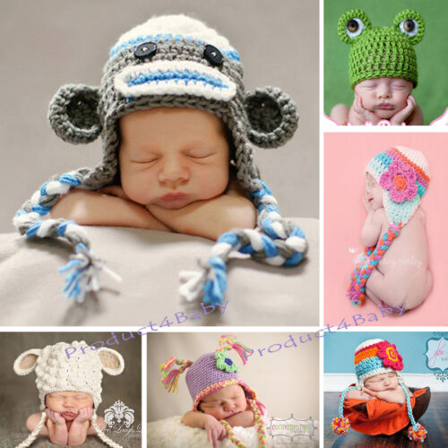 Baby Boy Girl Crochet Beanie Costume Hat 0-3, 3-6, 6-12M,1-3Yr Photography Props <br/> Top Quality! 100% Cotton Yarn! A Great Baby Shower Gift