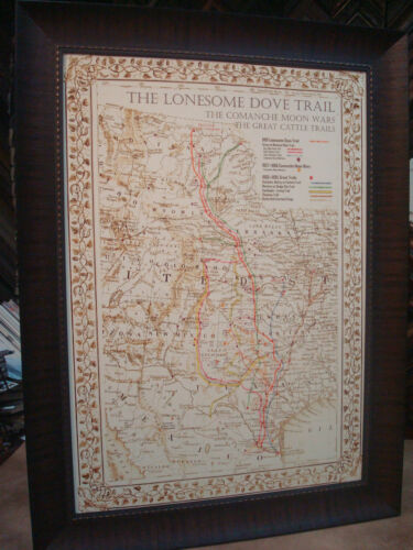 """ANTIQUE TEXAS MAP FRAMED """"The Lonesome Dove~Comanche Moon~Great Trails"""""""