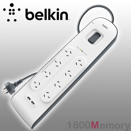 Belkin 8 Way Outlet Surge Plus Protector Board 2M Cord Cable 2 USB Ports 2.4A