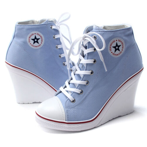 Epicsnob Women Shoe Canvas High Top Wedge Heel Lace Up Fashion Sneakers Uk 3~5.5