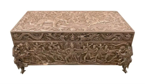 CHINESE EXPORT STERLING SILVER SCHOLARS BOX, C. 1875, 42 OUNCES, ONE OF A KIND