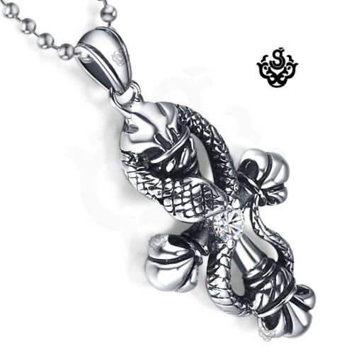 Snake cross simulated diamond silver pendant stainless steel ball chain necklace