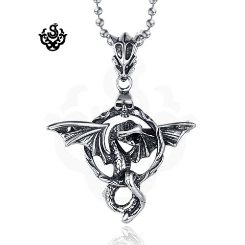 Silver flying dragon circle skull stainless steel black crystal pendant necklace