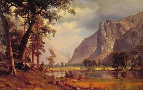 """Excellent Oil painting landscape Yosemite Valley Yellowstone Park canvas 36"""""""