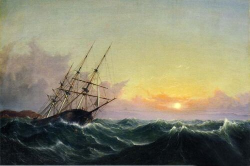 Oil painting Fitz Hugh Lane - A Storm, Breaking Away, Vessel Slipping Her Cable