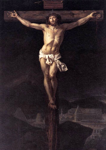 Dream-art Oil painting Jacques Louis David Christ Jesus on Cross free shipping