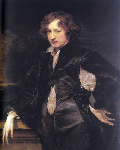 Oil painting Anthony van Dyck - Artist Self-Portrait in landscape Hand painted