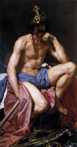 Nice Oil painting Diego Velazquez - Mars, God of War - Nude strong man canvas
