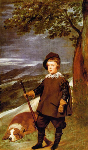 Huge Oil painting Diego Velazquez - Prince Baltasar Carlos as a Hunter with dog