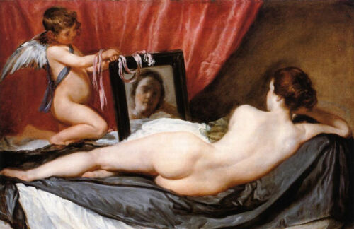"""Art Oil painting Diego Velazquez - Venus at Her Mirror with angel cupid 36"""""""