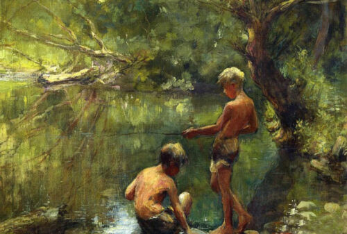"""Dream-art oil painting Two Boys Fishing in summer landscape by river canvas 36"""""""