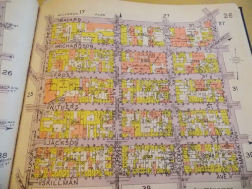 ORIG 1928 Brooklyn Williamsburg NYC New York City 10.5 x 12 Map 14