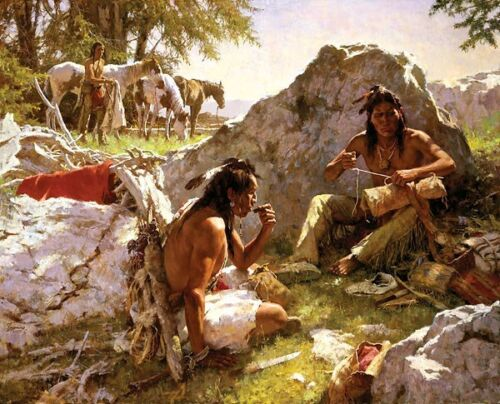 Howard Terpning Hard Trails Wore Out More Than Ponies SO Canvas with COA