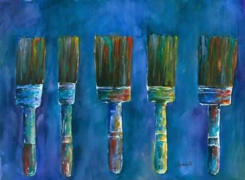 Artistic Paint Brushes Contemporary original watercolor modern abstract art