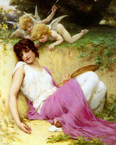 Oil painting Guillaume Seignac - Innocence Angel cupid with Girl fall in love