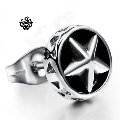 Silver black star stud stainless steel SINGLE earring soft Gothic fashion