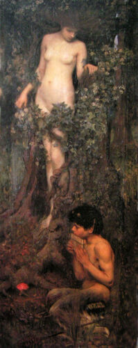 """Oil painting J. W. Waterhouse - A Hamadryad nude young girl with young boy 36"""""""