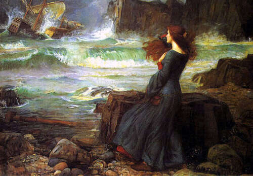 Oil painting Waterhouse - Miranda - The Tempest Young girl by beach & Shipwreck