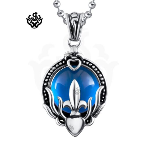 Silver pendant blue cz stainless steel necklace soft gothic new