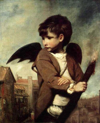 Dream-art hand paint Oil painting Joshua Reynolds Cupid as Link Boy in landscape