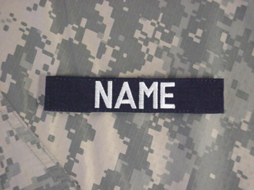 Custom Embroidered Navy Blue Name Tape, New, 5 Inch Length, With Hook Fastener*