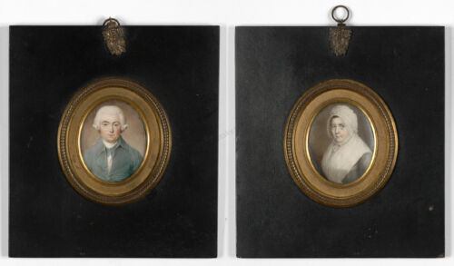 """""""Portraits of James and Elisabeth Neale"""", Anglo-American School, two miniatures"""