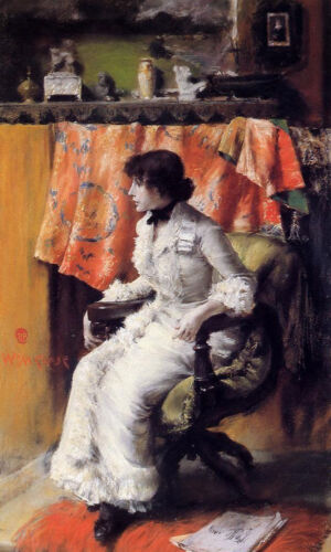 Dream-art Oil painting William Merritt Chase Young woman Virginia Gerson seated
