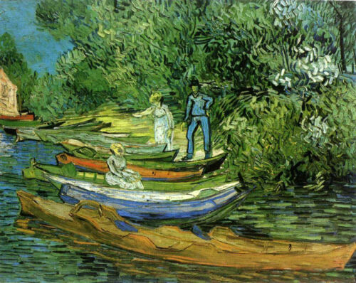 Oil painting Vincent Van Gogh - Bank of the Oise at Auvers with canoes canvas