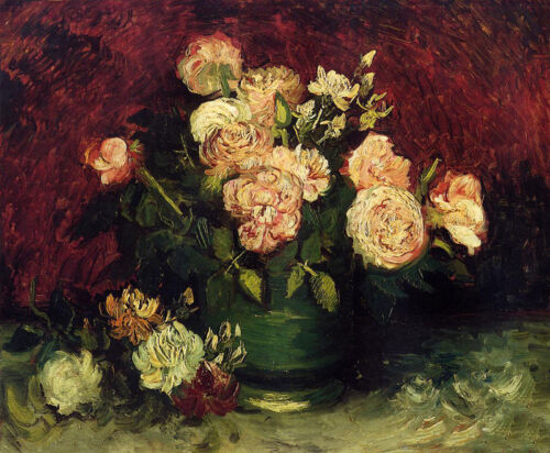 Nice Oil painting Vincent Van Gogh - Bowl with Peonies and Roses